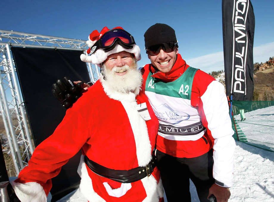Santa with actor Ian Ziering at the 17th Annual Deer Valley Celebrity Skifest at the Empire Canyon Lodge in Deer Valley, Utah, on Dec. 7, 2008. Photo: Michael Buckner, Getty Images / 2008 Getty Images