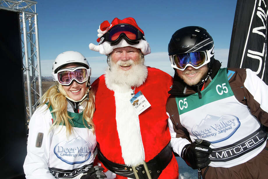 Santa with reality stars Heidi Montag and Spencer Pratt at the 17th Annual Deer Valley Celebrity Skifest at the Empire Canyon Lodge in Deer Valley, Utah,  on Dec. 7, 2008. Photo: Michael Buckner, Getty Images / 2008 Getty Images