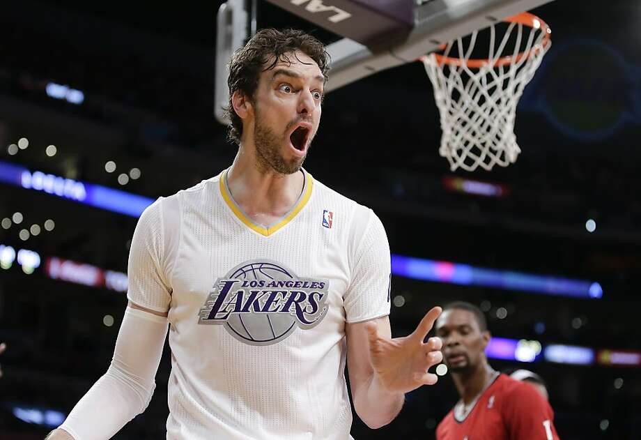 Los Angeles Lakers center Pau Gasol reacts during the first half of an NBA basketball game against the Miami Heat in Los Angeles, Wednesday, Dec. 25, 2013. (AP Photo/Chris Carlson) Photo: Chris Carlson, Associated Press