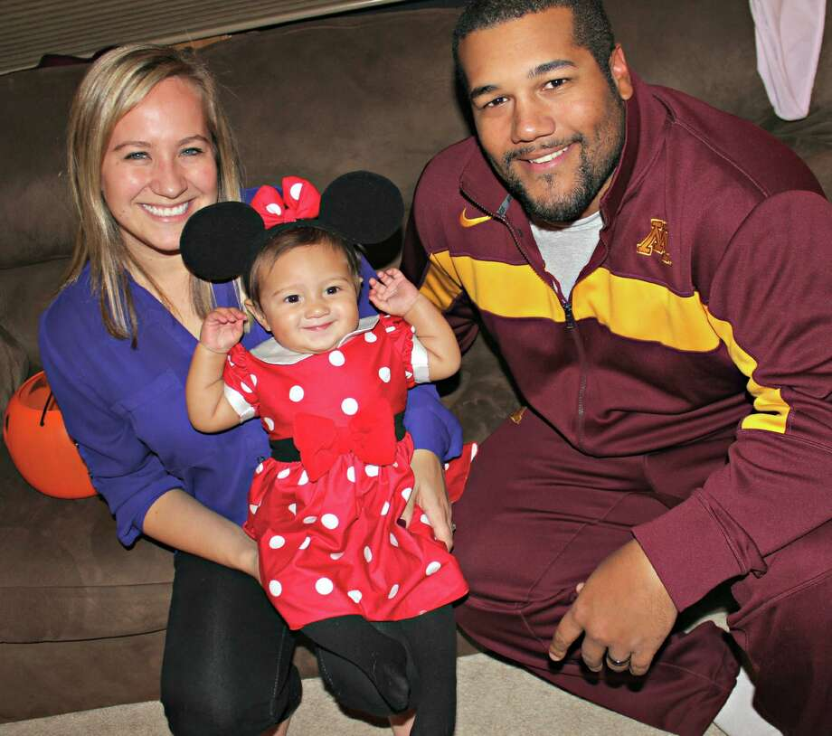 Emily and Mike Sherels are proud parents of a native Texan as Valerie, who will be a year old Sunday, arrived during last year's Texas Bowl. Mike is a graduate assistant for the Gophers.