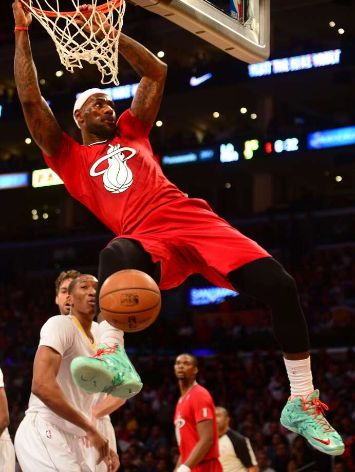 Heat 101, Lakers 95  LeBron James had several electrifying jams in the win. Photo: Frederic J. Brown, Getty Images
