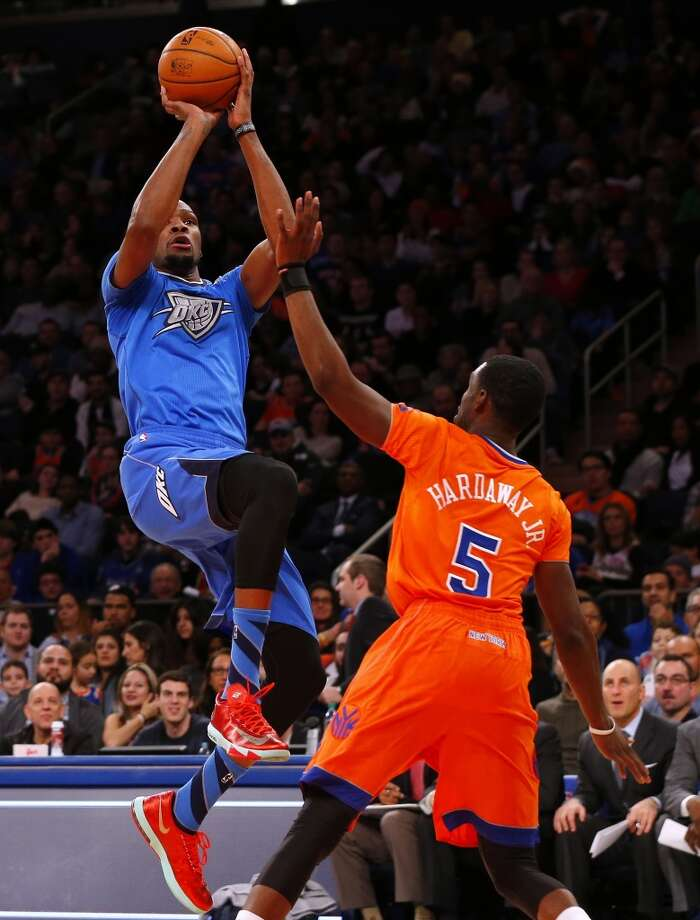 Thunder 123, Knicks 94  Kevin Durant scored 29 points in just 32 minutes in the blowout win. Photo: Rich Schultz, Getty Images