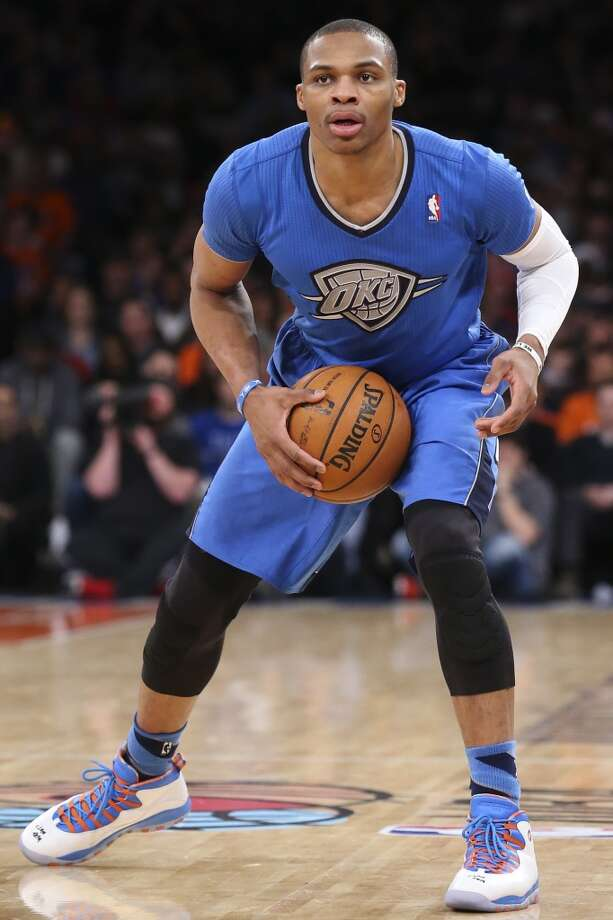 Thunder point guard Russell Westbrook had a triple-double with 14 points, 13 rebounds and 10 assists. Photo: John Minchillo, Associated Press