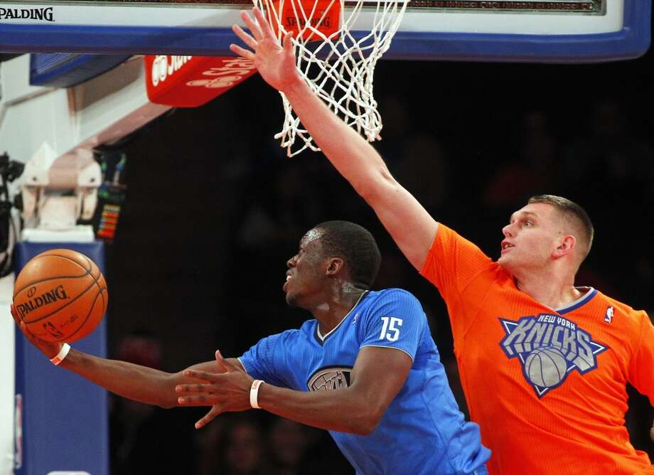 Thunder guard Reggie Jackson looks to score two of his 18 points off the bench. Photo: Rich Schultz, ThunderKnicks