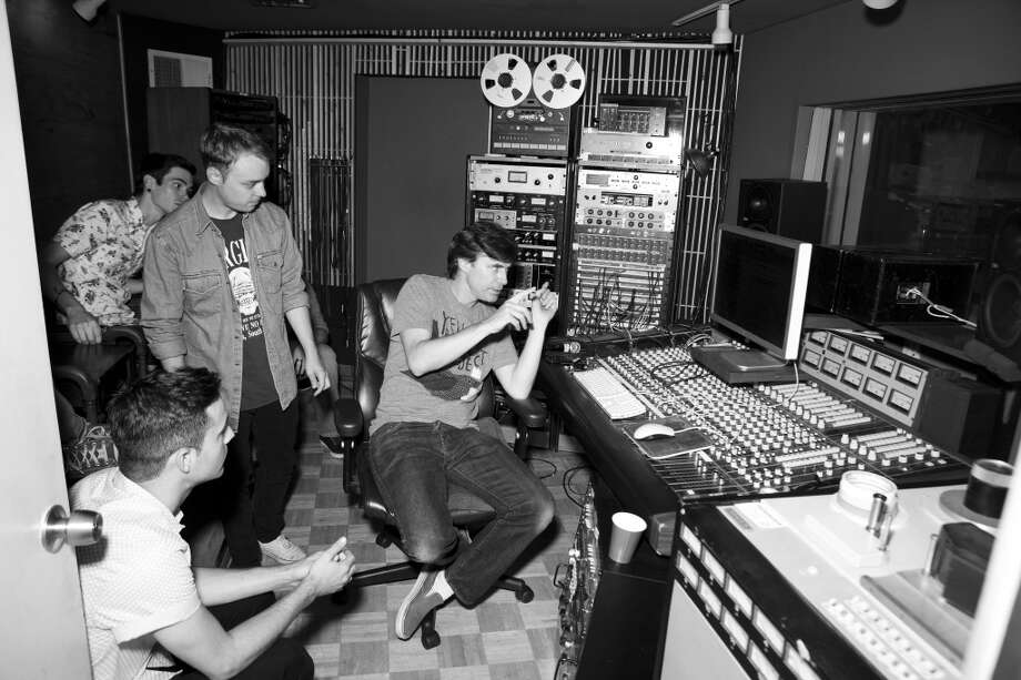 Barely Blind in the studio with Pierre De Reeder of Rilo Kiley Photo: Provided By The Artist