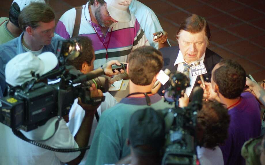 Bud Adams speaks with the media at training camp on the Trinity University campus in San Antonio. Photo: John Makely, Houston Chronicle