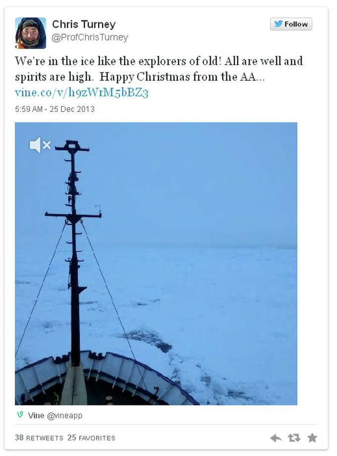 Expedition leader Chris Turney posted a Vine video on Twitter showing the ship's bow stuck in ice.