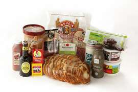 Columbus Sliced Genoa Salami, Boudin Bakery Sliced Sourdough Bread, Applegate Organics Sliced Monterey Jack Cheese, Fresh & Easy Sliced Genoa Salami, Apple-A-Day Apple Juice, Bob's Big Boy Blue Cheese Dressing, Safeway Thin Mints, Sun-Maid Boxed Raisins, O Organics Organic Sour Cream, Trader Joe's Coffee Ice Cream, Trader Joe's Organic Sour Cream, Fentiman's Tonic Water, Cocoa Metro Chocolate Milk, Newman's Own Organic Boxed Raisins as seen in San Francisco, California on Wednesday, December 18, 2013. Food styled by Lauren Reuthinger.
