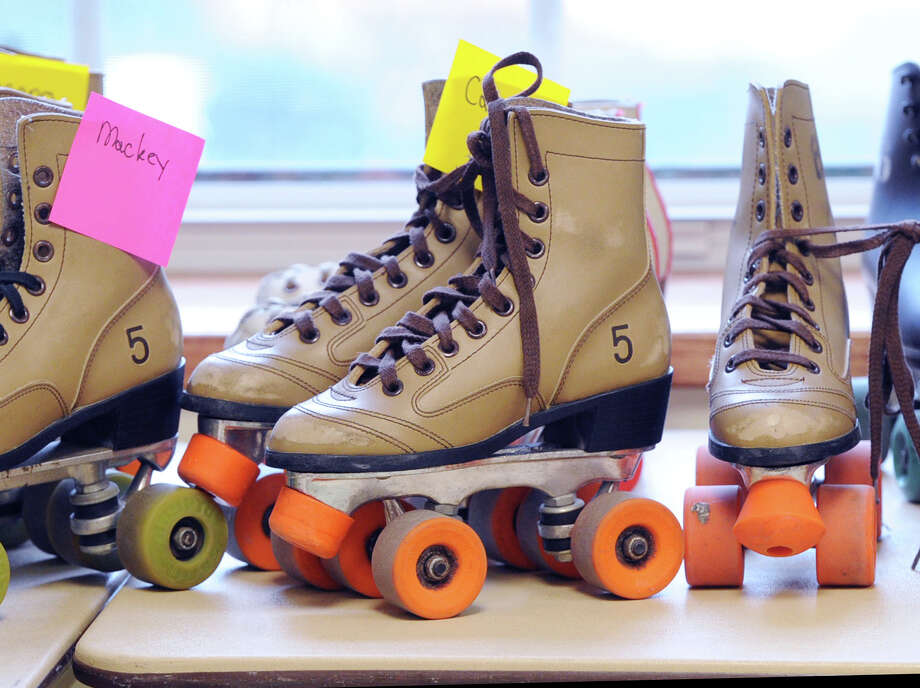 Skates on a table during the Greenwich Department of Parks and Recreation's Roller Skating Party at the Western Greenwich Civic Center in Glenville, Thursday, Dec. 26, 2013. Photo: Bob Luckey / Greenwich Time