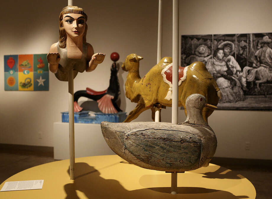 "A wooden carousel duck, camel and mermaid from Mexico were among the objects in SAMA's ""Pasión Popular,"" a collection of Spanish and Latin American folk art from  Peter P. Cecere. Photo: Express-News File Photo / San Antonio Express-News"