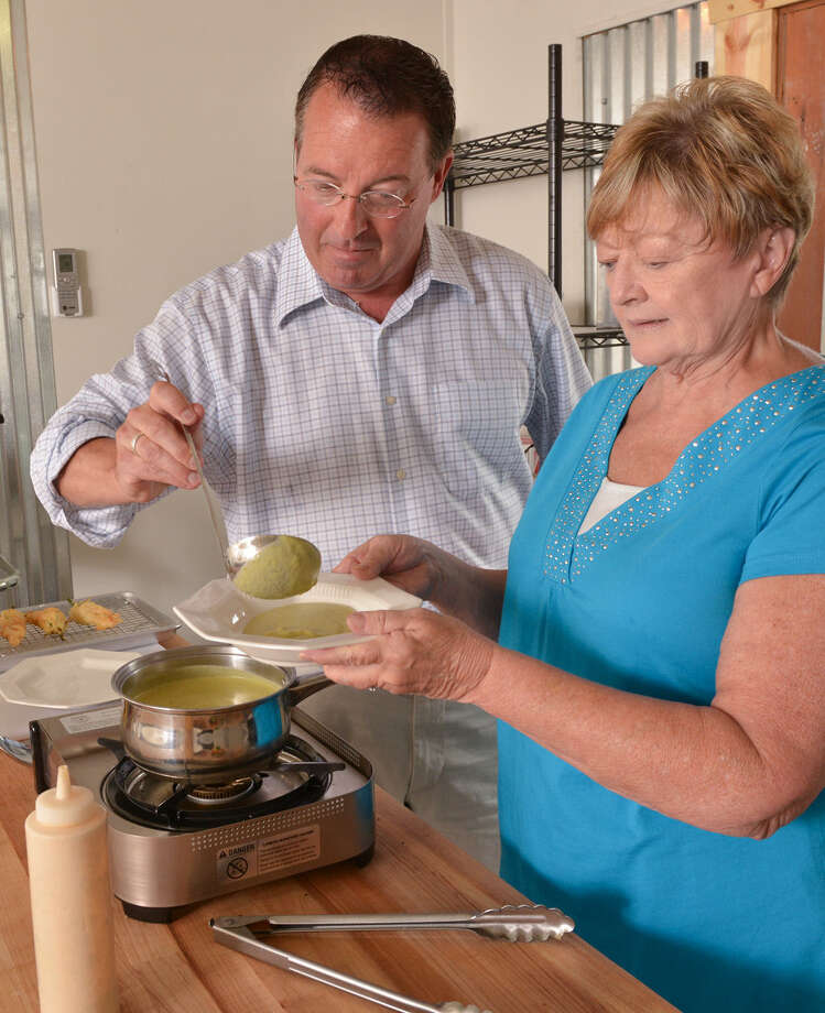 Bill Varney and Terry Thompson-Anderson prepare a chilled summer soup. Photo: Robin Jerstad
