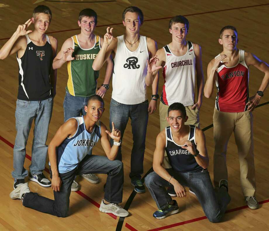 2013 Express-News All-Area boys cross country Super Team: top row (from left) — Chris Pietraszkiewicz of TMI, Chris Myers of Holmes, Zach Martin of Reagan, Colton Stoker of Churchill and Alex Rogers of New Braunfels Canyon; bottom row — Robert Ford of Johnson (left) and Andrew Tankersley of Boerne Champion. Photo: Edward A. Ornelas, San Antonio Express-News / © 2013 San Antonio Express-News