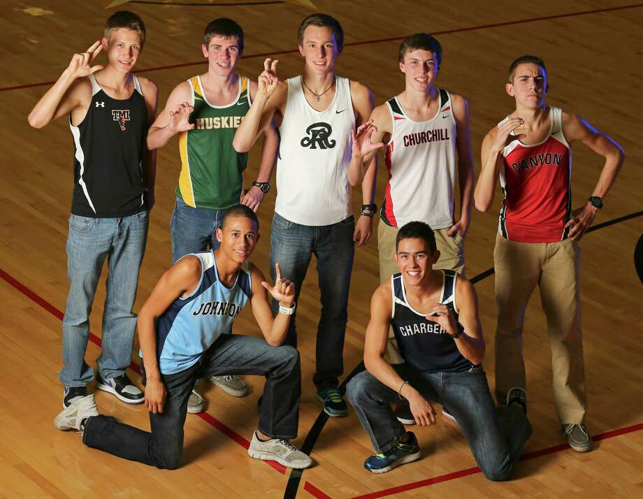 Top row (from left) — Chris Pietraszkiewicz of TMI, Chris Myers of Holmes, Zach Martin of Reagan, Colton Stoker of Churchill and Alex Rogers of New Braunfels Canyon; bottom row — Robert Ford of Johnson (left) and Andrew Tankersley of Boerne Champion. Read more about the Boys All-Area Cross Country Super Team Photo: San Antonio Express-News / © 2013 San Antonio Express-News
