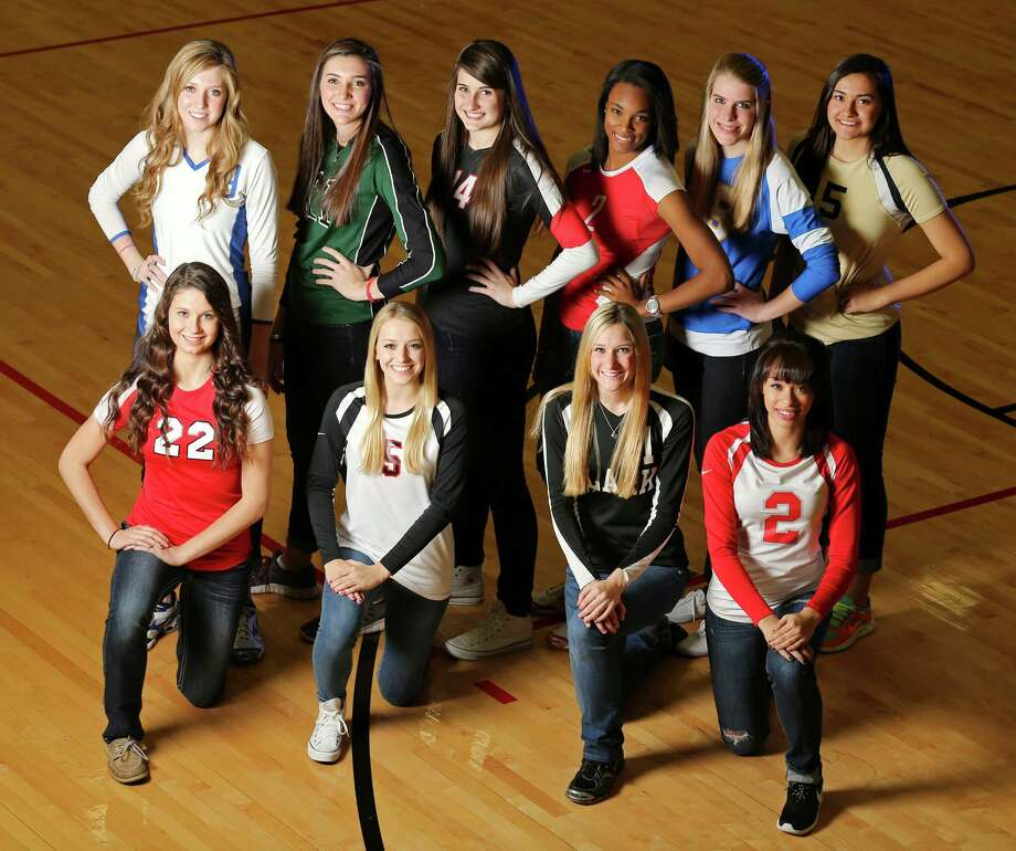 Portrait of All-Area Super Team: back row (from left) Neka Cuppetilli of New Braunfels, Ashlie Reasor of Reagan, Abby Buckingham of Churchill, Kiara McGee of Taft, McKay Kyle of Alamo Heights, Brianna Sotello of O'Connor; front row (from left) Madison Williams of New Braunfels Canyon, Amy Nettles of Churchill, Katie Mattson of Clark, Krystal Faison of Judson Thursday Dec. 12, 2013. Photo: San Antonio Express-News / © 2013 San Antonio Express-News