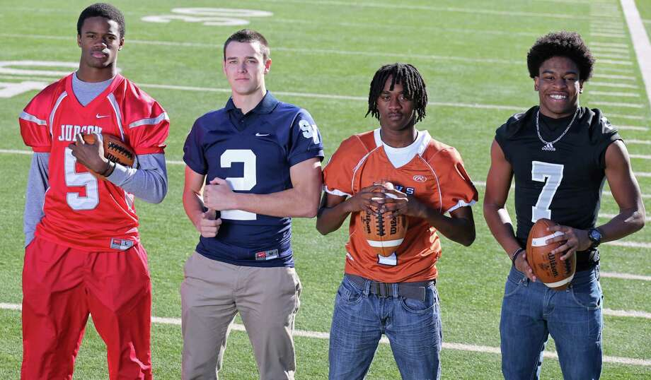 From left: Keivon Ramsey of Judson, Shane Pianik of Smithson Valley, Jordan Brown of Madison and Carl Cunningham of Steele. Click the link below to see the rest of the First Team. Photo: San Antonio Express-News / © 2013 San Antonio Express-News