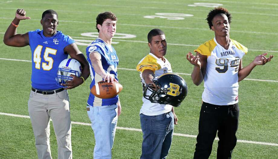 From left: Kolin Hill of Clemens, Ben McSween of Alamo Heights, Evan Ferguson of Brennan and Derick Roberson of Brennan. Click the link below to see the rest of the First Team. Photo: Edward A. Ornelas, San Antonio Express-News / © 2013 San Antonio Express-News