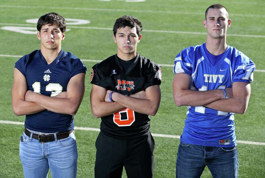 From left: Greg Kelly of Holy Cross, Devin Ogden of Medina Valley and Tyler Ahrens of Kerrville Tivy. Click the link below to see the rest of the First Team. Photo: San Antonio Express-News / © 2013 San Antonio Express-News