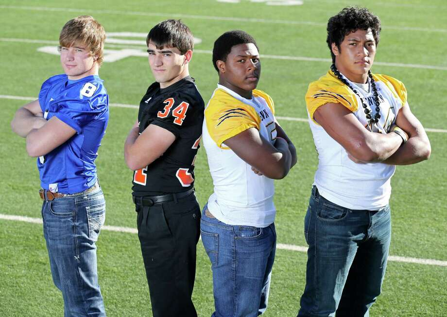 From left: Landon Richter of La Vernia, Hunter Peterson of Medina Valley, DJ Allen of Brennan and Grant Watanabe of Brennan. Click the link below to see the rest of the First Team. Photo: San Antonio Express-News / © 2013 San Antonio Express-News