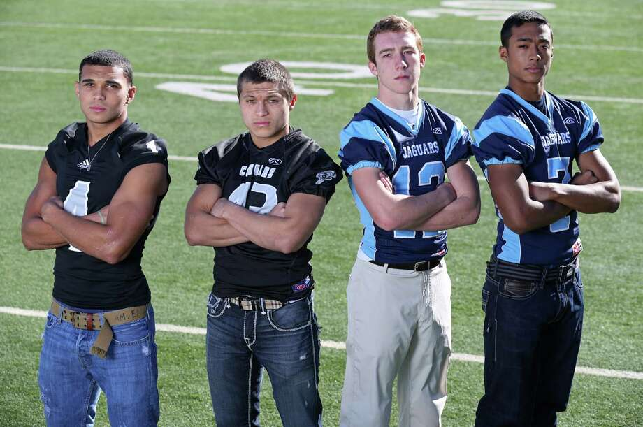 Portrait of All-Area Super Team Class 5A Offensive backfield from left to right: Justin Stockton of Steele, Branden Valle of Clark, Hunter Rittimann of Johnson and Darion McElhannon of Johnson. Sunday Dec. 15, 2013. Photo: Edward A. Ornelas, San Antonio Express-News / © 2013 San Antonio Express-News