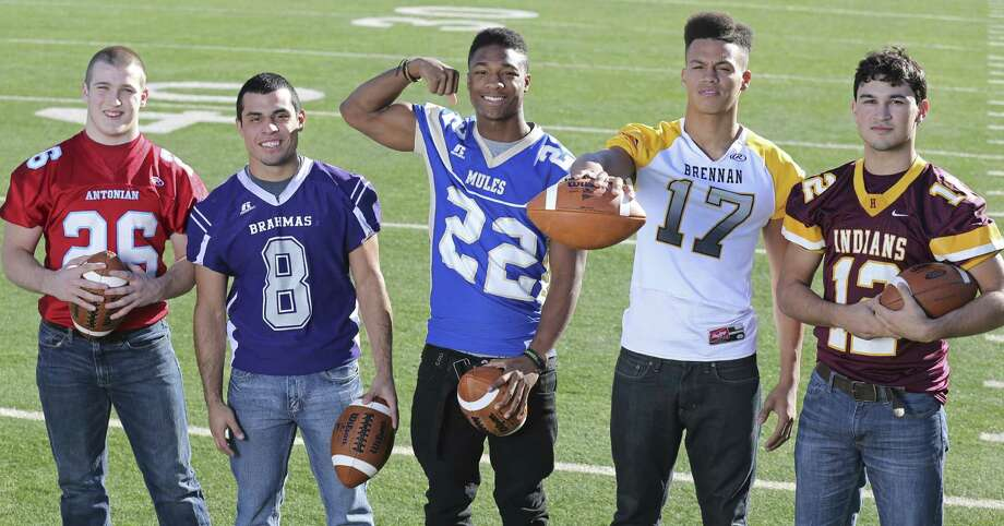 Offensive backfield — (from left) Daniel Rosenfeld of Antonian, Matt Valadez of Stockdale, Byron Proctor of Alamo Heights, Da'Shawn Key of Brennan and Brandon Ramon of Harlandale. / © 2013 San Antonio Express-News