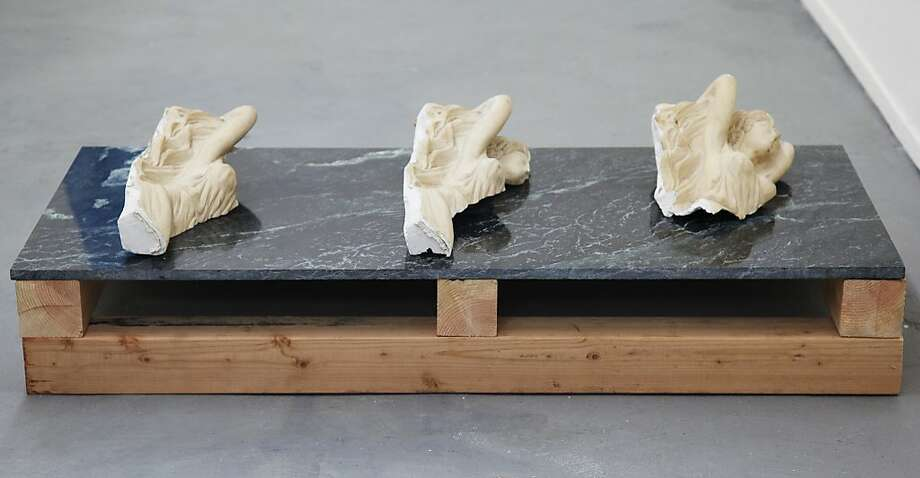 """Three Variations on the Fall of Anonymides"" is a collaborative work of plaster, marble and wood by Luca Antonucci and Daniel Small. The figures have no known classical source. Photo: Unknown"