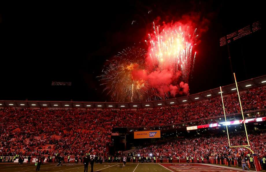 SAN FRANCISCO, CA - DECEMBER 23:  Fireworks go off after the last regular season game at Candlestick Park where the San Francisco 49ers defeated the Atlanta Falcons 34-24 on December 23, 2013 in San Francisco, California.  (Photo by Stephen Dunn/Getty Images) Photo: Stephen Dunn, Getty Images