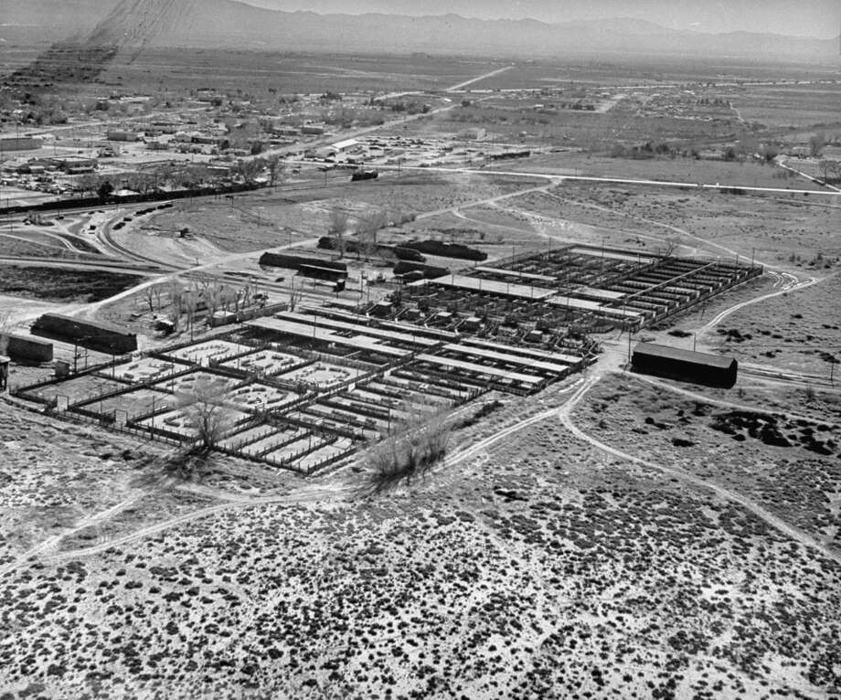 Aerial view showing cattle yard in foreground at Las Vegas in 1947. Photo: Jon Brenneis, Time & Life Pictures/Getty Image
