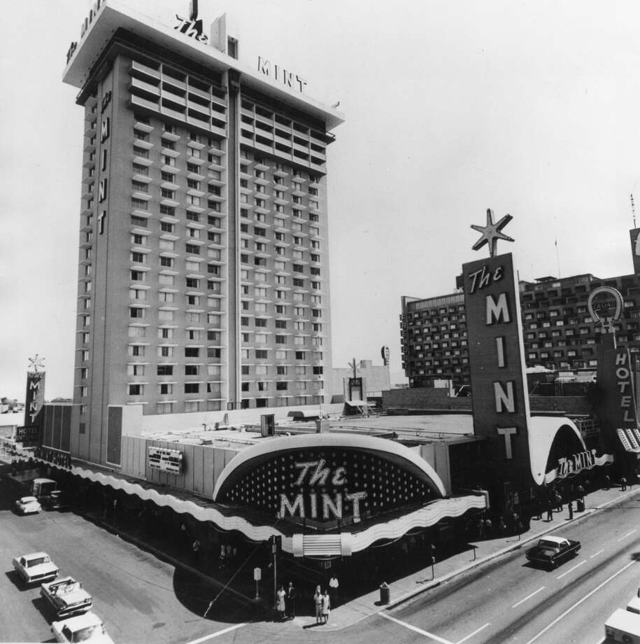 The Mint, seen here just after the hotel tower expansion was built in 1965. A minimum of $250,000 was kept in the vaults at all times to cover liabilities. The Mint was sold in 1988 to Binion's Horseshoe. Photo: Photoshot, Getty Images