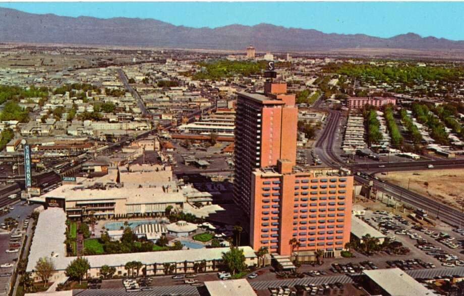 Another vintage postcard showing the skyline over the Sahara Hotel, the Strip, and the outlying area. Photo: Curt Teich Postcard Archives, Getty Images