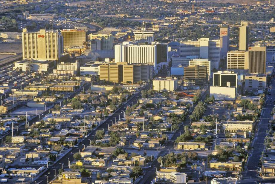 An aerial view of Las Vegas at sunset, NV in 1996. Photo: Visions Of America, UIG Via Getty Images