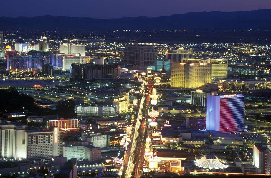 View of the strip at night from the Stratosphere Tower, NV in 1998. Photo: Visions Of America, UIG Via Getty Images