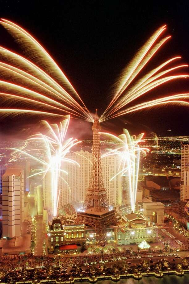 The Paris Las Vegas Casino Resort opens with a gala fireworks display on the famous Las Vegas Strip 01 September, 1999. Paris Las Vegas features authentic replicas of famous French landmarks including the Arc de Triomphe and the Hotel de Ville. Photo: DARRIN BUSH, AFP/Getty Images