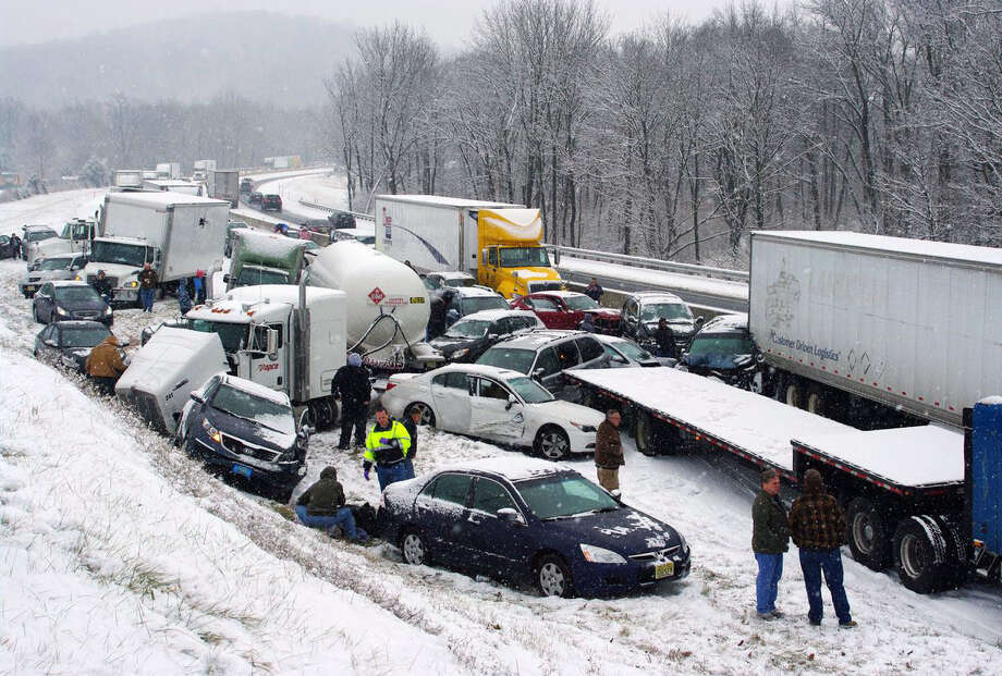 Crashes caused by slippery road surfaces closed the Pennsylvania Turnpike and portions of Interstate 78 in the Keystone State. Photo: David C. Ronk / Associated Press / AP