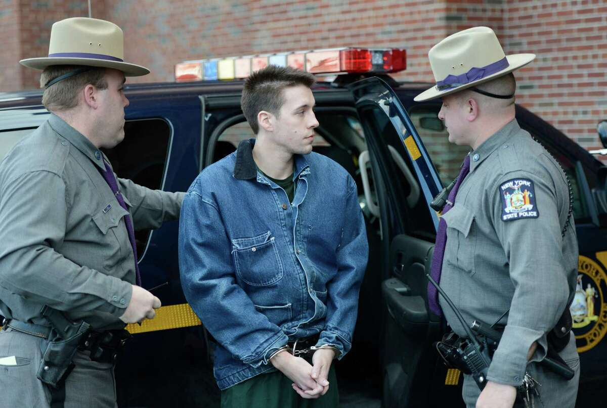 5. Sentence sparks an uproar. Dennis Drue, age 22, is led from a State Police car Monday, Jan. 7, 2013, to the Saratoga County Courthouse in Ballston Spa, N.Y. Drue allegedly drove the car which rear-ended an SUV killing two popular Shenendehowa High School students on the Northway last Dec. (Skip Dickstein/Times Union)