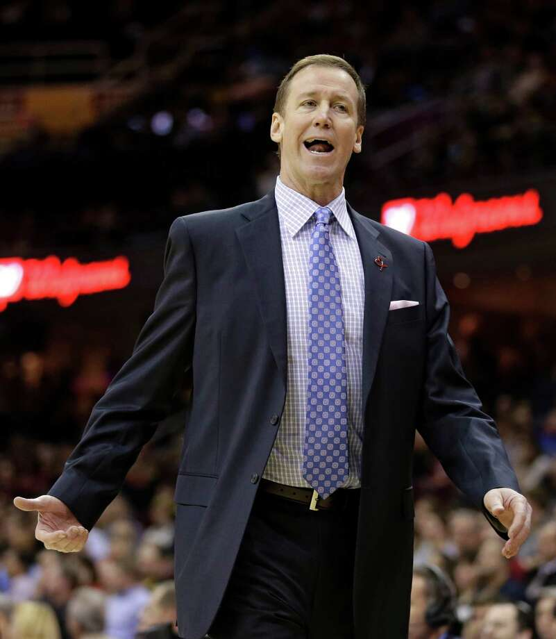 Portland Trail Blazers head coach Terry Stotts stands on the sideline during the first quarter of an NBA basketball game against the Cleveland Cavaliers, Tuesday, Dec. 17, 2013, in Cleveland. Portland won 119-116. (AP Photo/Tony Dejak) ORG XMIT: OHTD112 Photo: Tony Dejak / AP
