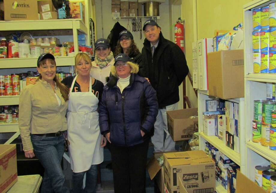 Donations coordinated by Hospitality Services at Rensselaer, which is run by Sodexo, are shown with Joseph?s House Shelter food pantry and Sodexo employees in Troy. They are: Tammy Papa, kitchen manager for Joseph?s House Shelter; JoAnn (Sagendorf) Hill, Patty Stargensky, Crystal Skawinski, Maria Bernard and Matthew Mueller. RPI students donated $1,350 and Hospitality Services contributed another $500 to the Stop Hunger Food Drive, conducted Nov. 18 to Dec. 6 at campus dining halls. Donations also went to Provisions Pantry and Kitchen and Concerns-U Food Pantry.