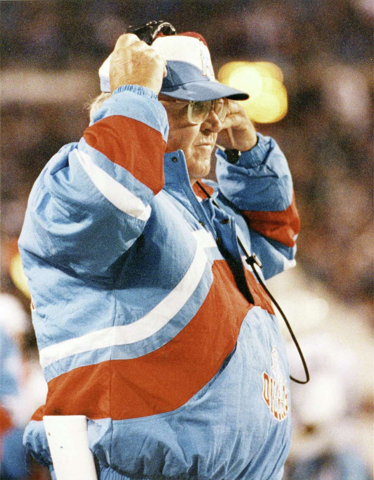 Houston Oilers defensive coordinator Buddy Ryan on the sidelines during game an October 1993 game against the Buffalo Bills.