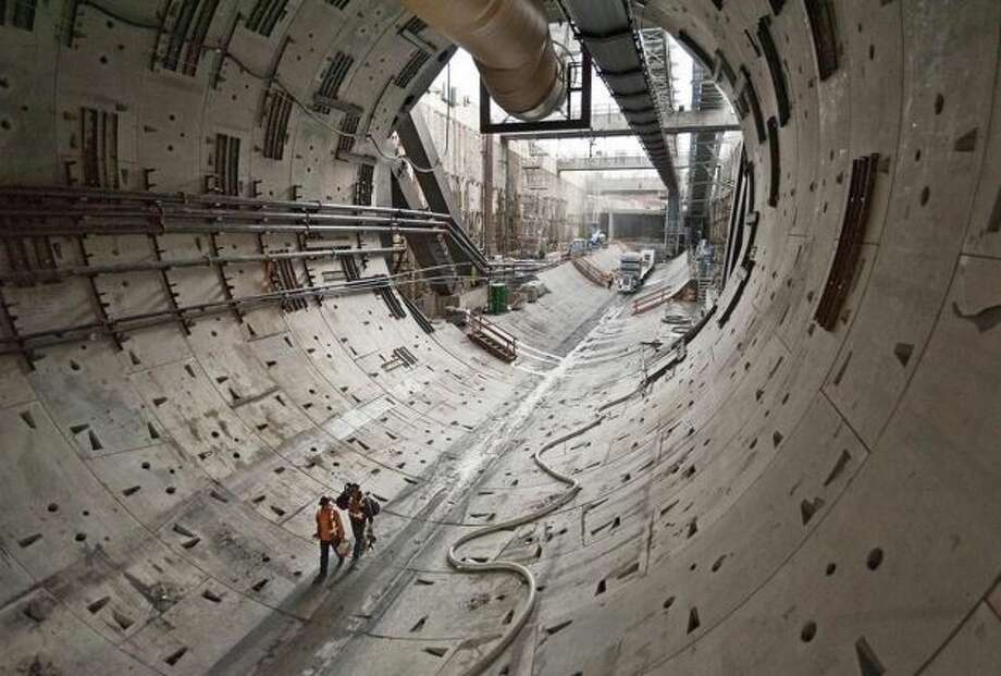 Bertha had cleared about 370 feet of tunnel when this state Department of Transportation photo was taken Thursday, Oct. 24, 2013. (DEPARTMENT OF TRANSPORTATION) Photo: Multiple