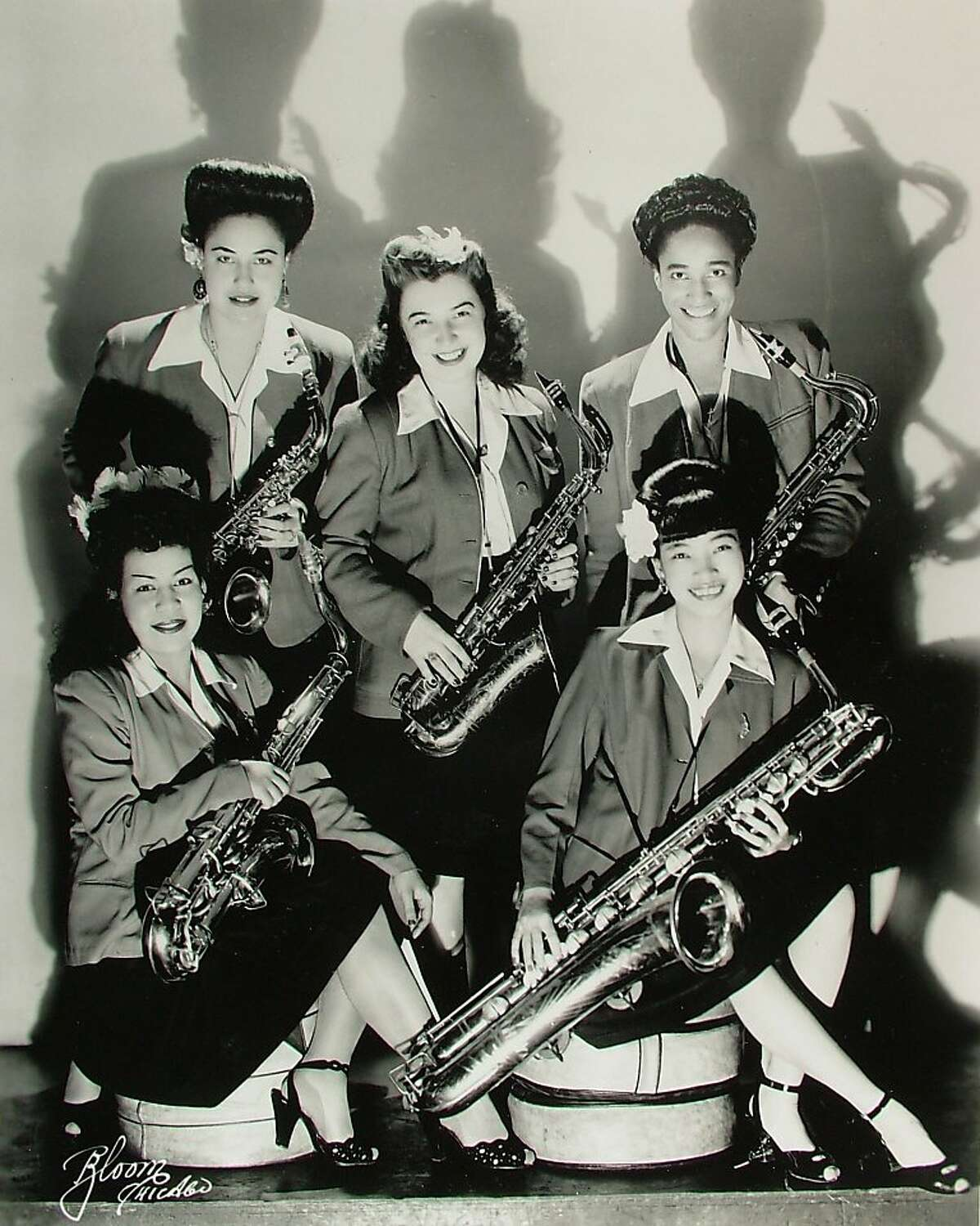 This is the racially-mixed saxophone section of the International Sweethearts of Rhythm, the all-female jazz orchestra that came to prominence around World War II and is featured in the documentary