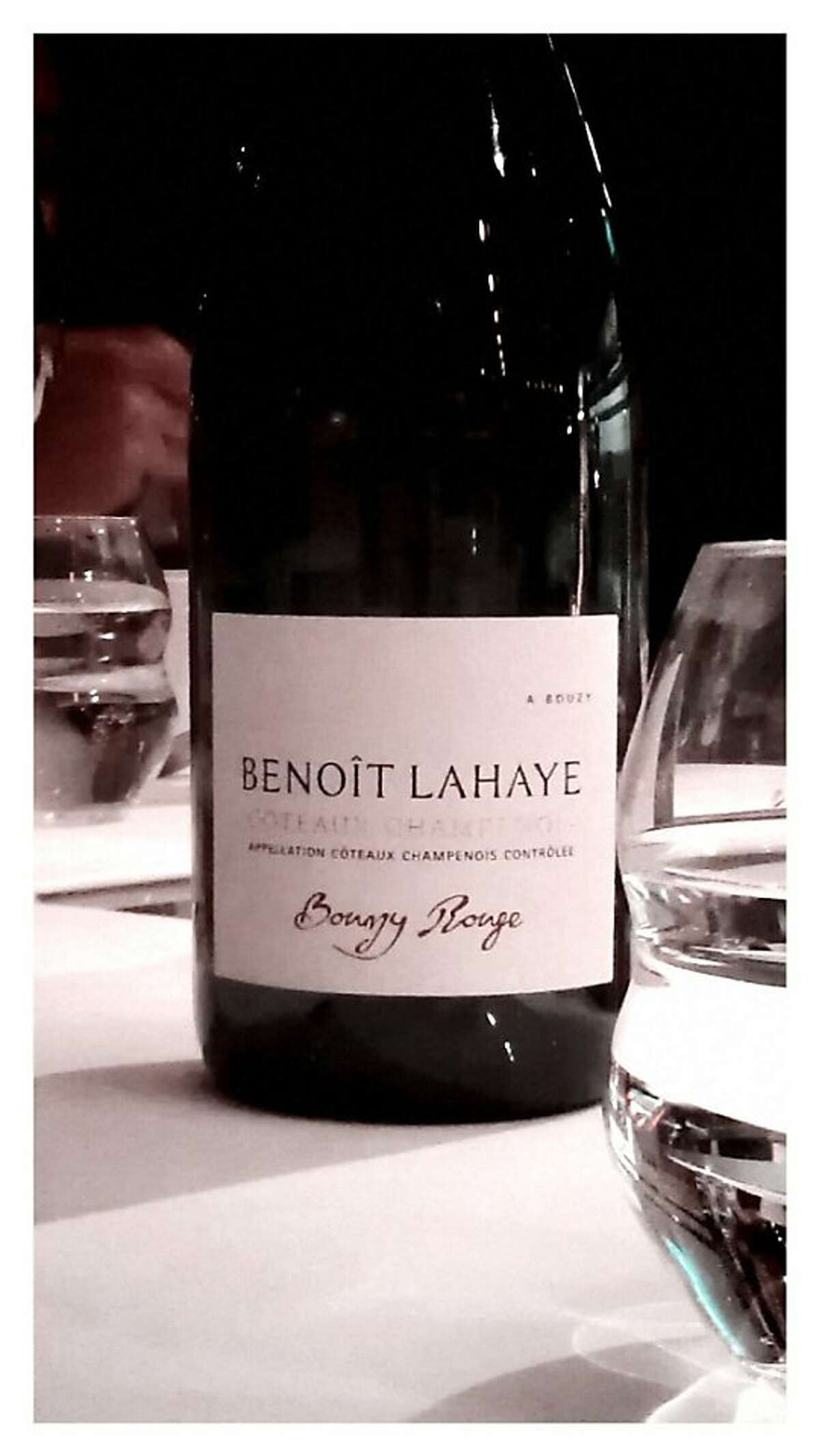 A bottle of 2009 Benoit Lahaye Coteaux Champenois Rouge, one of the bottles for Jon Bonne's Top 10 of 2013, served at a dinner in London.