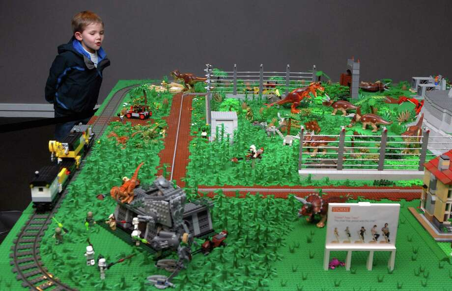 Noah  Jurczak (5) watches a train go around the tracks at the Lego exhibit at the Stamford ( Conn.) Museum and Nature Center on Friday December 27, 2013. Photo: Dru Nadler / Stamford Advocate Freelance