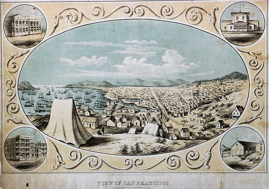 A peaceful-looking 1850 view of the city from Telegraph Hill, which was the scene of a violent gang rampage that led to vigilante action.