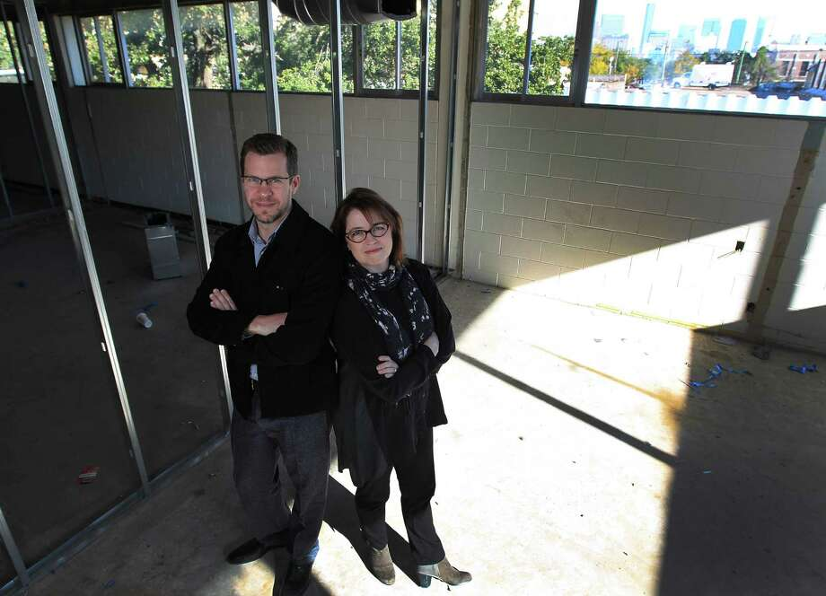 Building manager Bryan Miller and art dealer Kerry Inman have big renovation plans for the Midtown art studio complex being created at the Bermac Building on San Jacinto. Photo: Karen Warren, Staff / © 2013 Houston Chronicle