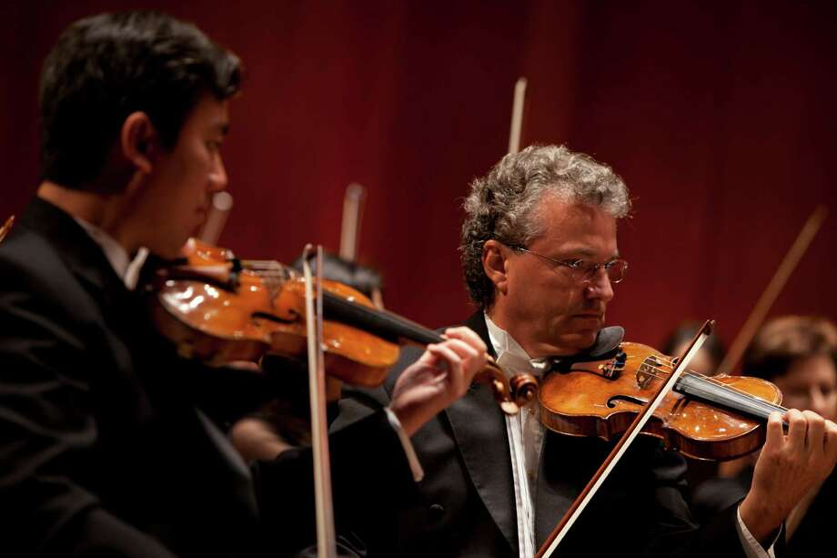 Eric Halen, right, is the Houston Symphony's associate concertmaster. Frank Huang, left, is concertmaster. Photo: Courtesy Photo
