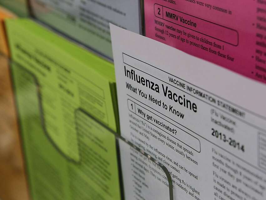 Information at the Kaiser injection clinic. Flu season has arrived, so those getting vaccinated should do it soon.