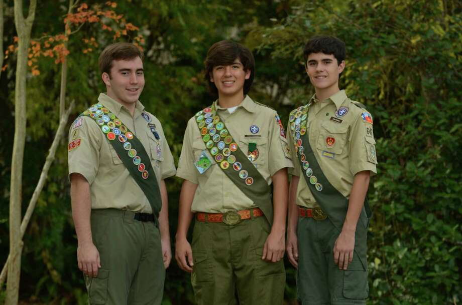 John Scholl, Ryan Fairbairn and Grant Gunter earned Boy Scouts of America's highest honor. Photo: Provided By Boy Scout Troop 642