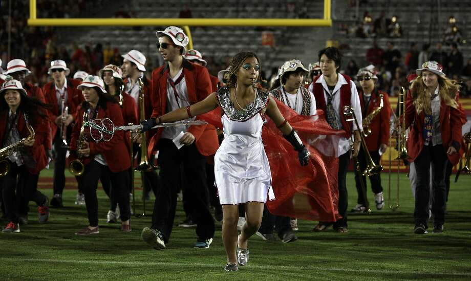 Annalise Lockhart, the Leland Stanford Junior University Marching Band drum major, leads the Band as Cleopatra at a football game against USC at their stadium in Los Angeles, on November 16, 2013. Photo: Courtesy, The Stanford Daily