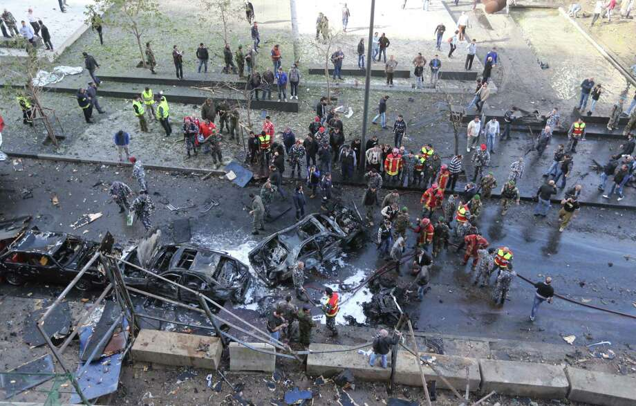 A general view  from above shows the scene of a huge car bomb explosion that rocked central Beirut on December 27, 2013, killing Mohamed Chatah (Shatah), former finance minister and adviser to Lebanese ex-premier Saad Hariri, along with at least four others, according to initial reports from the Lebanese capital. AFP PHOTO / STRSTR/AFP/Getty Images Photo: STR / AFP