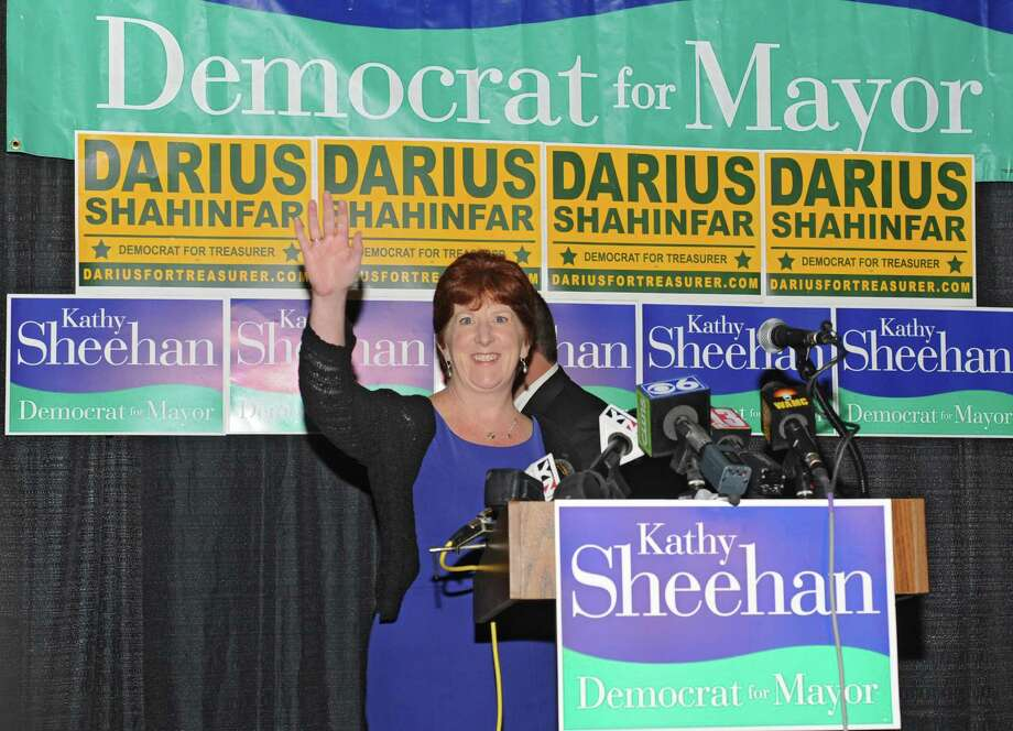 Kathy Sheehan arrives to the stage to deliver a speech in front of supporters at the Albany Pump Station after winning the Albany mayoral primary race on Tuesday, Sept. 10, 2013 in Albany, N.Y. Sheehan was running against Corey Ellis. (Lori Van Buren / Times Union) Photo: Lori Van Buren / 00023807A