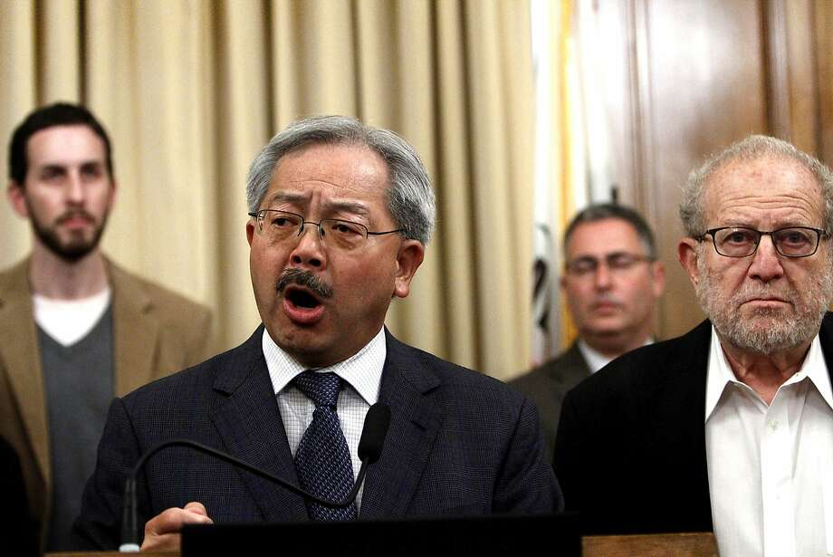 Mayor Ed Lee and California Labor Secretary Marty Morgenstern speak about the BART strike planned for Monday at a press conference in San Francisco, Calif., Friday, August 2, 2013. Photo: Sarah Rice, Special To The Chronicle